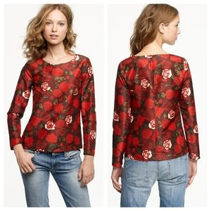J. CREW COLLECTION 100% Silk Red Flora Top Size 4